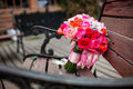 Wedding bouquet chair Royalty Free Stock Images
