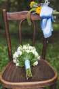 Wedding bouquet on the chair closeup Royalty Free Stock Photos
