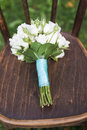 Wedding bouquet on the chair closeup Stock Image