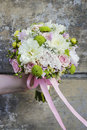 Wedding bouquet with chrysanthemums and carnations Royalty Free Stock Photo