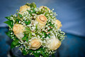 Wedding bouquet closeup rings Royalty Free Stock Photos
