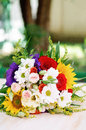 Wedding bouquet fresh flowers outdoors Stock Photos