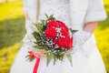 Wedding bouquet in hands of the brid beautiful bride Stock Image