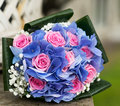 Hydrangea and roses bridal bouquet