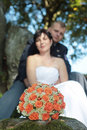 Wedding bouquet newly and married couple Royalty Free Stock Images