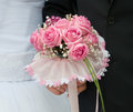 Wedding bouquet of pink roses Stock Images