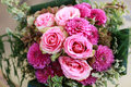 Wedding bouquet with pink roses Stock Images