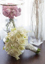 Wedding bouquet with pink white and red flowers and roses Stock Image