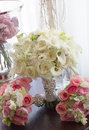 Wedding bouquet with pink white and red flowers and roses Royalty Free Stock Images
