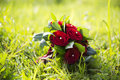 Wedding bouquet with red roses laying on grass Royalty Free Stock Photos