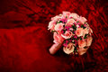 Wedding bouquet red sofa Royalty Free Stock Photos