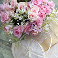 Wedding bouquet of roses bag and elegant box with bow Stock Photo