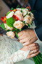 Wedding bouquet with roses in a hands Stock Image