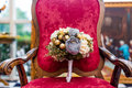 Wedding bouquet on a sofa Stock Photography