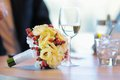 Wedding bouquet on table Royalty Free Stock Images