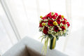Wedding bouquet window Royalty Free Stock Photography