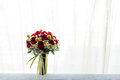 Wedding bouquet window Royalty Free Stock Photo