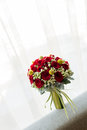 Wedding bouquet window Stock Images