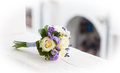Wedding bouquet with yellow roses and lavender flowers Stock Images