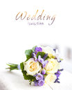 Wedding bouquet with yellow roses and lavender flowers Royalty Free Stock Photography