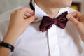 Wedding bow tie bridesmaid seting groom s Royalty Free Stock Photography