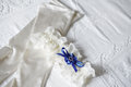 Wedding bridal garter and gloves Royalty Free Stock Photo