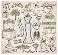 Wedding bridal graphic set with cake dress accessories hearts and ribbons eps Royalty Free Stock Photography