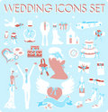 Wedding Bridal Icon set Stock Image