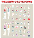 Wedding Bridal Icon set Design elements Stock Photography