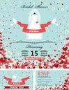 Wedding bridal shower invitations.Bride dress,falling hearts,flo