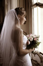 Wedding bride beautiful in white dress Stock Photography