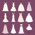 Wedding bride dress vector different edsign