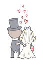 Wedding bride and groom backs wedding day cute cartoon an image of a stood together on their they have their harms around each Stock Image