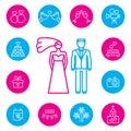 Wedding, bride and groom flat icons set