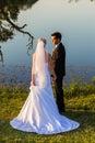 Wedding Bride Groom Romance Waters Royalty Free Stock Photo