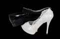 Wedding bride groom shoe shoes details ceremony bridal and Stock Photo