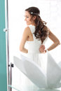 Wedding bride in a white dress in a romantic scenery Stock Images