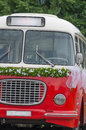 Wedding bus with flowers old car old Royalty Free Stock Image