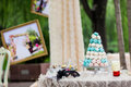 Wedding cake beautiful cakes at an outdoor party Stock Images