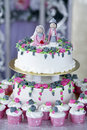 Wedding cake beautiful for solemnization ceremony Stock Images