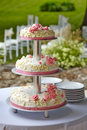 Wedding cake beautiful with white and pink roses Stock Images