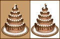 Wedding cake chocolate with bride and groom on the top decorated with roses on brown background and isolated on white background Stock Photos