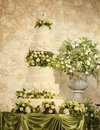 Wedding cake with flower decorations Royalty Free Stock Image
