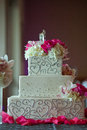 Wedding cake with flowers Royalty Free Stock Photos