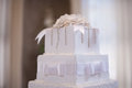 Wedding cake with flowers and table Royalty Free Stock Photo