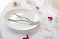 Wedding cake and forks a tiered Royalty Free Stock Photos