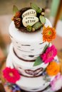 Wedding cake happily ever after with on the top Stock Photography