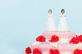 Wedding cake with lesbian couple Royalty Free Stock Photo