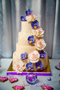 Wedding cake with orchids and roses, wedding candy bar Royalty Free Stock Photo