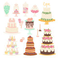 Wedding cake pie cartoon style isolated vector illustration.
